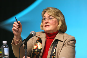 Bishop Charlene Kammerer presides at the 2008 General Conference. A UMNS photo by Maile Bradfield.
