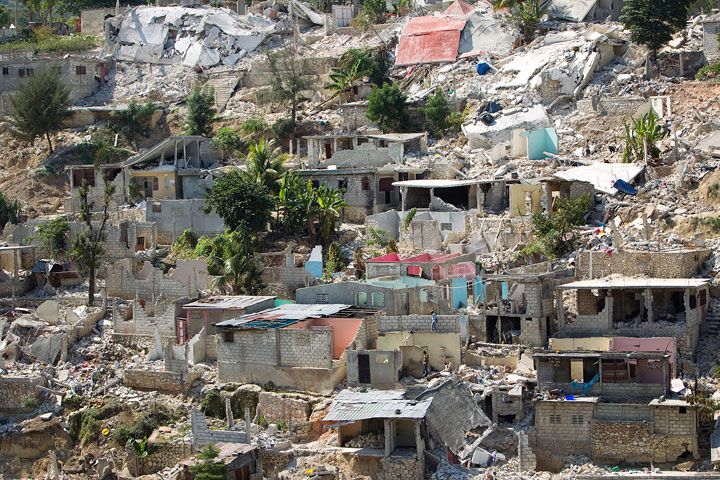 Many homes in the Canape Vert neighborhood of Port-au-Prince were destroyed. A UMNS photo by Mike DuBose.