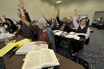 Delegates vote in a legislative committee at the 2008 General Conference. A UMNS file photo by Paul Jeffrey.