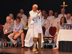 Bishop Violet Fisher preaches at a worship service at the Northeastern Jurisdictional Conference in Harrisburg, Pa. A UMNS photo by Suzy Keenan.