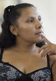 Juana Villegas recalls her experience of being arrested for a minor traffic violation in Nashville, Tenn., while she was nine months pregnant. UMNS photos by Mike DuBose.
