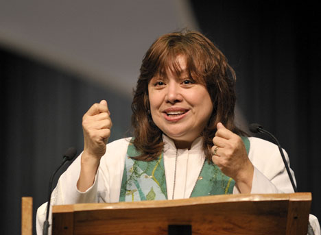 United Methodist Bishop Minerva Carcaño of the church's Phoenix Area preaches during morning worship on April 27 at the 2008 General Conference. A UMNS photo by Paul Jeffrey.