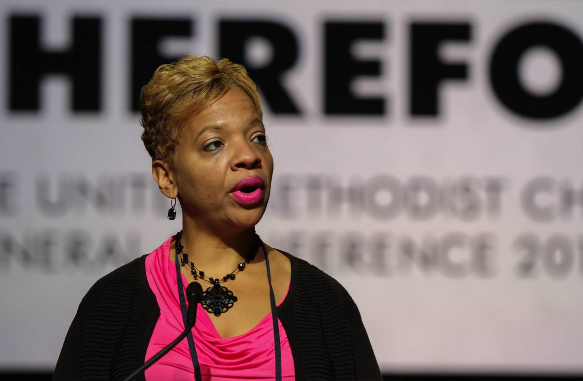 The Rev. Tracy Smith Malone speaks during the morning plenary session of the United Methodist 2016 General Conference in Portland, Ore. She was elected bishop in July 2016. 2016 File photo by Maile Bradfield, UMNS