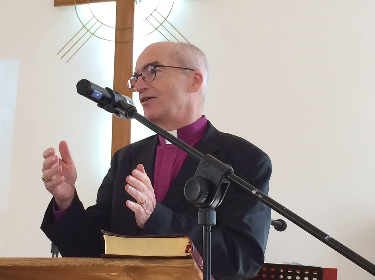 Bishop Patrick Streiff preaches in Shumen, Buglaria. Under proposed amendments to Bulgaria's Religious Denominations Act, Streiff — who leads the Central and Southern Europe Conference — would have to get government permission to preach in Bulgaria.