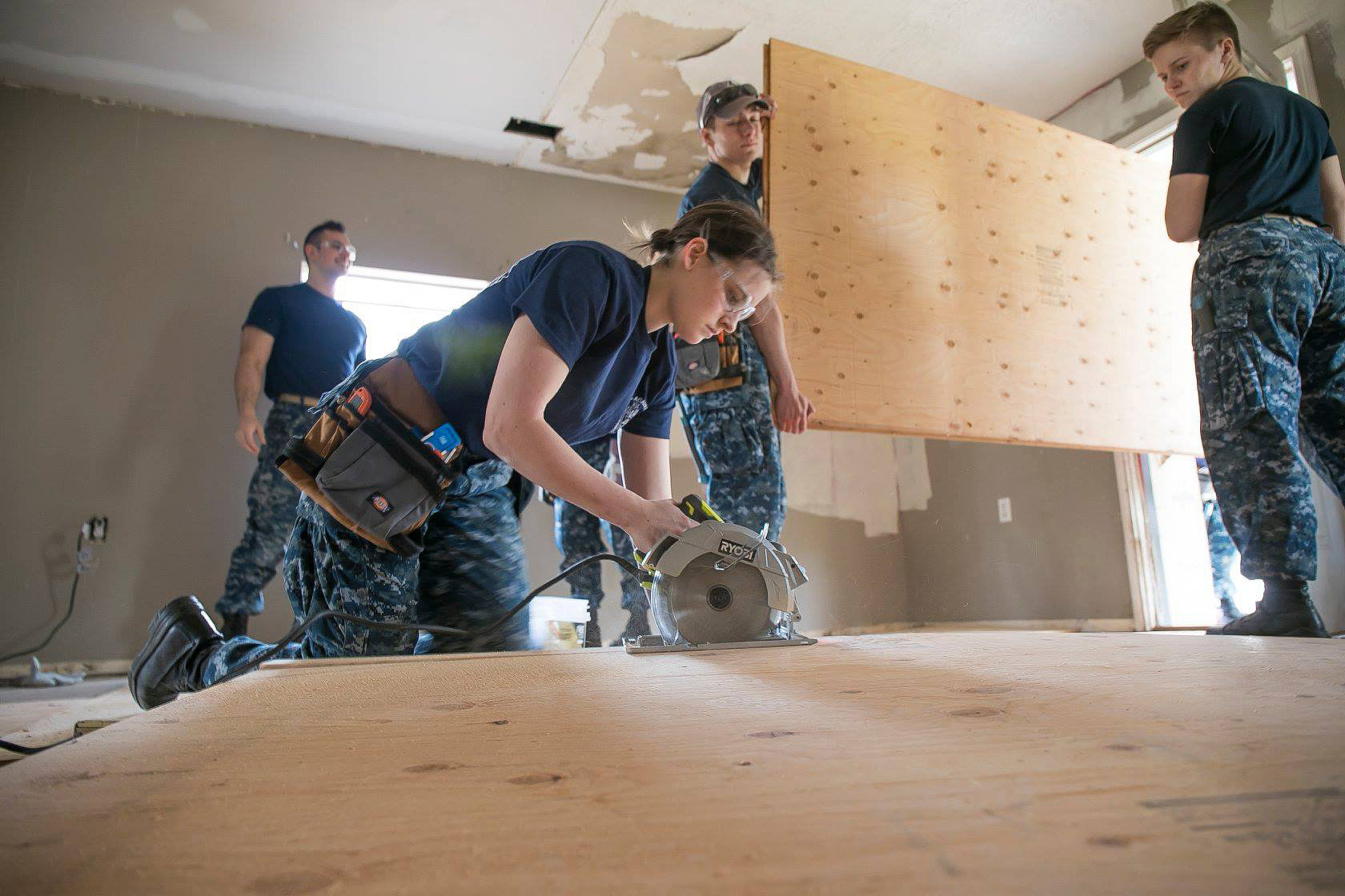 The U.S. Naval Academy contributed volunteers to Hurricane Harvey recovery work in Rockport, Texas, this past March, during the school's spring break. The Rio Texas Conference provided case management support for the project the Midshipmen helped with. Photo courtesy of the Rio Texas Conference.