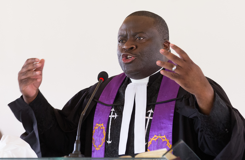 The Rev. Jean Claude Masuka Maleka gives a sermon on marriage during worship at Nazareth United Methodist Church. Photo by Mike DuBose, UMNS.