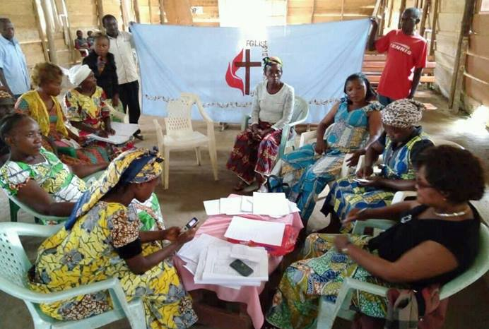 Women gather during a peace-building workshop in Rutshuru, Congo. The United Methodist Church is playing a role in mediation efforts in the Rutshuru Territory of the DRC, which has been plagued by tribal and land conflicts. Photo by Philippe Kituka Lolonga, UMNS.