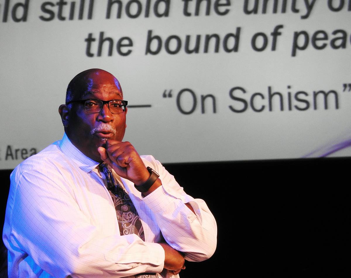 West Ohio Conference Bishop Gregory Palmer speaks July 17, 2019, at the Uniting Methodists meeting, held at Lovers Lane United Methodist Church, in Dallas. Palmer spoke on behalf of the One Church plan, to be considered at the special General Conference set for Feb. 23-26, 2019, in St Louis. Photo by Sam Hodges, UMNS