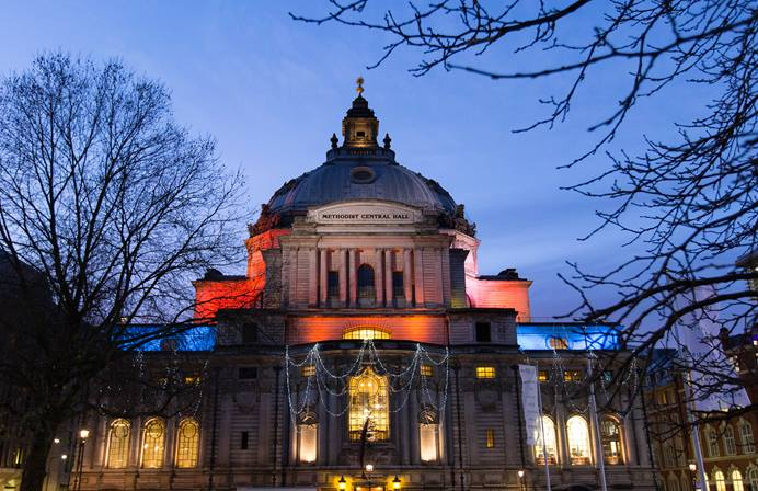 Representatives of The United Methodist Church and Methodist Church in Britain will gather Aug. 11-12, at Methodist Central Hall, Westminster, in London to mark the 50th anniversary of a concordat agreement between the two denominations. The historic hall, which opened in 1912, sits across from Westminster Abbey. 2017 file photo by Mike DuBose, UMNS.