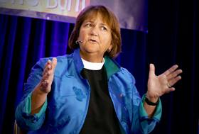 United Methodist Bishop Karen Oliveto, the denomination's first openly gay bishop, speaks during a question and answer session at For Everyone Born in St. Louis. Photo by Stephen Drachler.