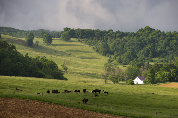 The sun rises over farmland alongside the Appalachian Trail near Burkes Garden, Va. The high valley was once the preferred location for what became the Biltmore Estate in Asheville, N.C. Photo by Mike DuBose, UMNS.