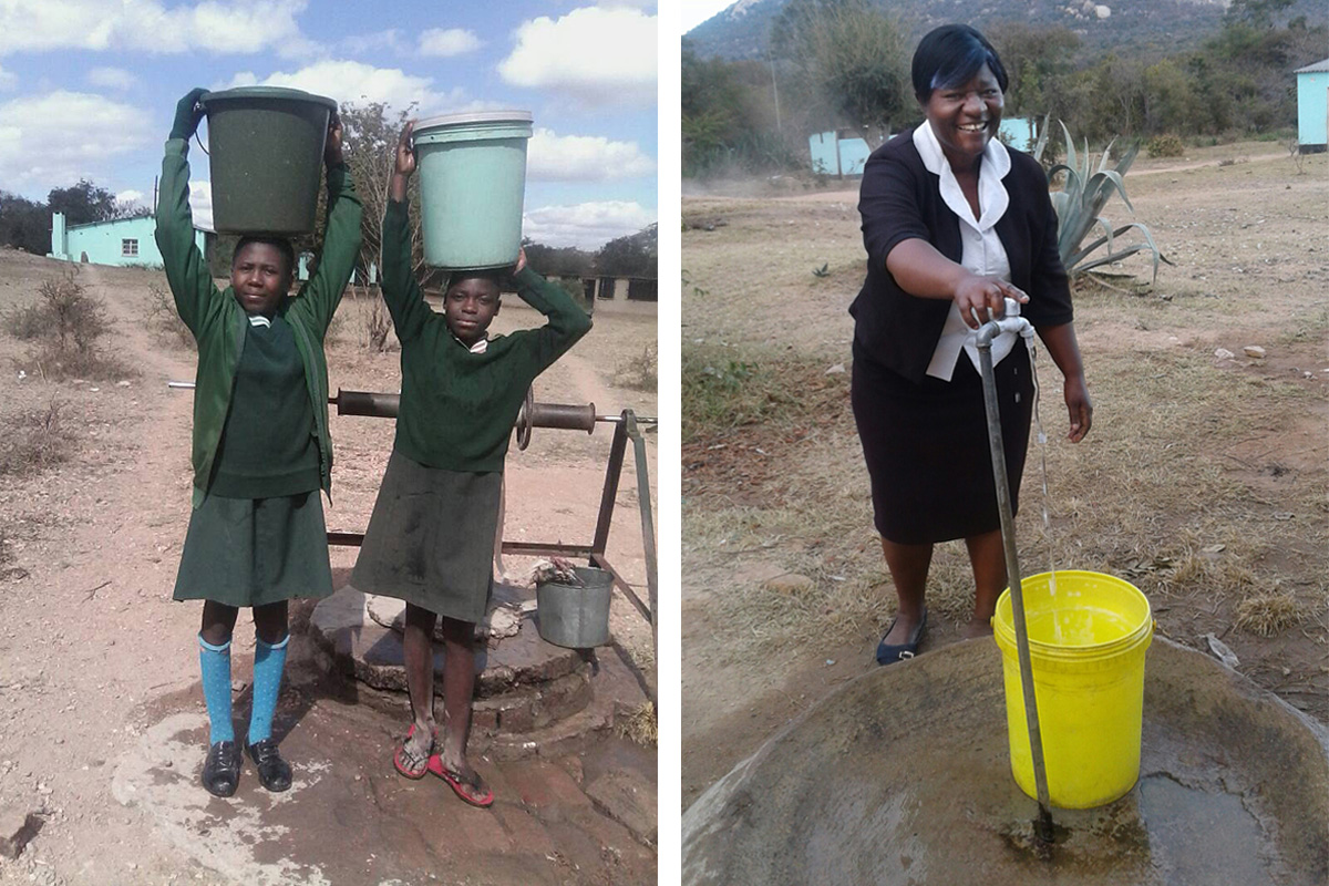 In photo on left, Grace Mutsago (left) and Adja Muzama carry water from a well at Mutsago Primary School in Zimbabwe. In photo on right, teacher Memory Maseure fills a bucket from the new tap at Mutsago Primary School. The United Methodist Church in partnership with Chabadza Norway Community Development Program is helping bring clean, piped water to two schools. Photos by Kudzai Chingwe, UMNS.