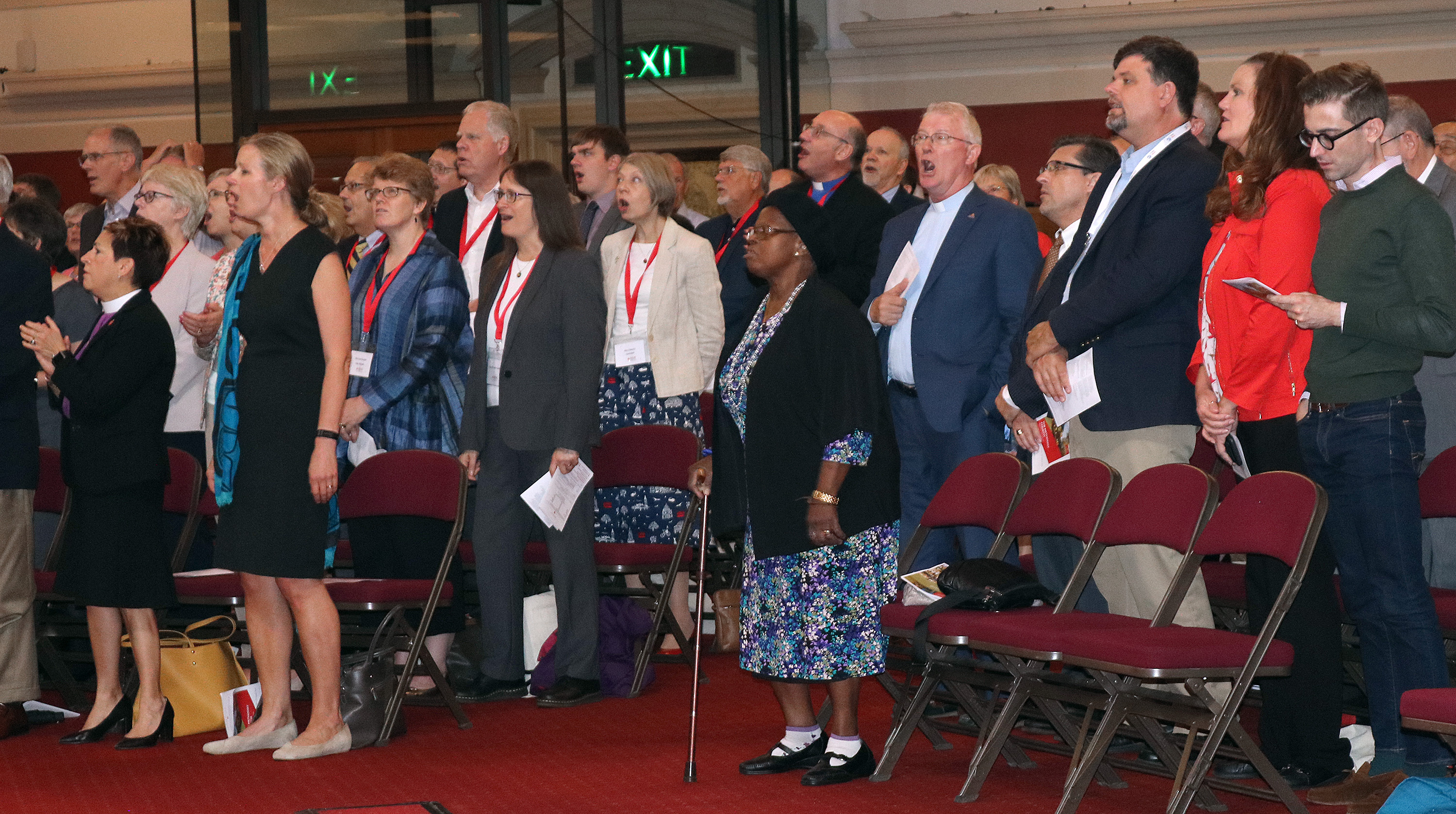 United Methodists and British Methodists sing at Methodist Central Hall, Westminster, during the 50th anniversary celebration of the partnership between the two churches. Photo by Priscilla Muzerengwa.
