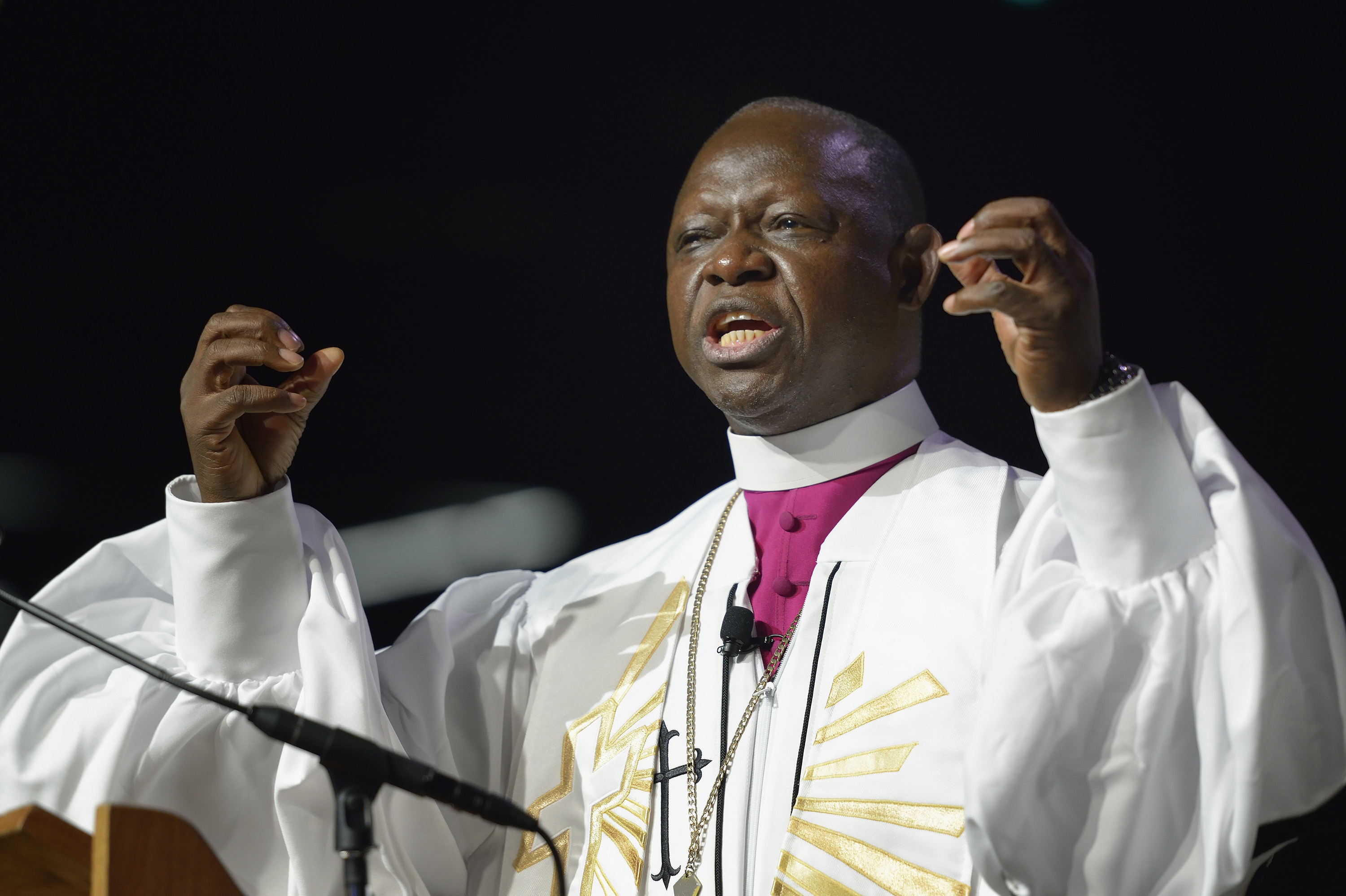 Bishop John Yambasu gives the sermon during morning worship at the 2016 United Methodist General Conference in Portland, Ore. File photo by Mike DuBose, UMNS.