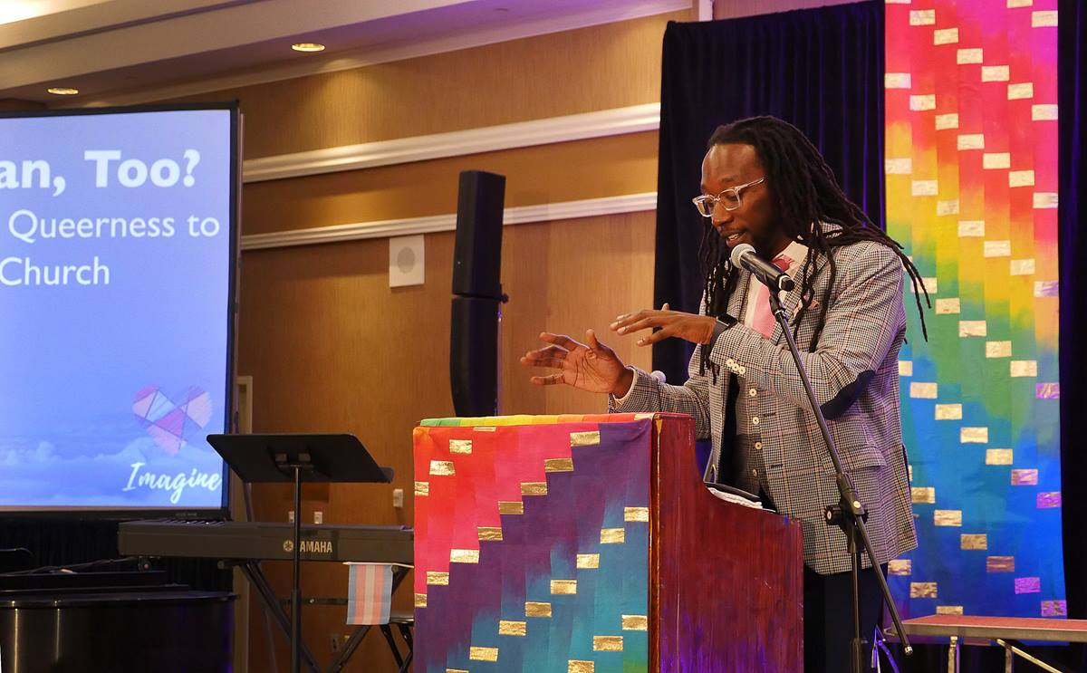 The Rev. Jay Williams, lead pastor of Union United Methodist Church in Boston, speaks about his problems with the One Church Plan during the For Everyone Born convocation in St. Louis. Williams is a supporter of the Simple Plan legislation to remove restrictive language against homosexuality. Photo by Heather Hahn, UMNS.