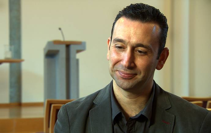 The Rev. Rami Ziadeh is co-founder and co-leader of the Arabic-Speaking United Methodist church in Aarau, Switzerland, along with his wife, the Rev. Anna Shammas. The congregation of 70-80 Christian worshippers from Syria, Egypt, Jordan, Palestine and European countries — as well as some from the Muslim faith — have gathered in the United Methodist Church in Aarau since 2007. Photo courtesy of Bishop Heinrich Bolleter.
