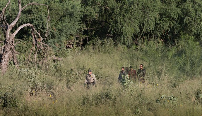 A U.S. Border Patrol agent escorts a group of people who were caught entering the U.S. illegally from their hiding place in a heavily wooded area near McAllen. Photo by Mike DuBose, UMNS.