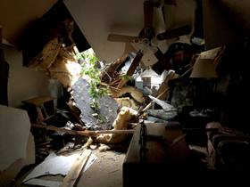 The interior of the Greeners' home office shows the damage wrought by Florence, which roared in as a Category 1 hurricane. The Rev. Thomas M. Greener is the pastor of Camp Ground United Methodist Church in Fayetteville, N.C. Photo courtesy of Thomas M. Greener.