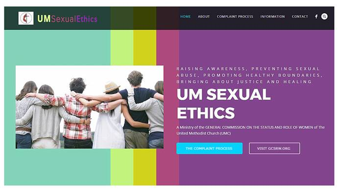 Screen image of the UM Sexual Ethics site, courtesy of GCSRW.