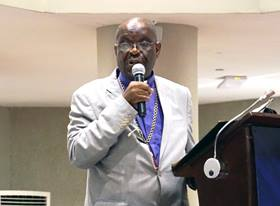 Bishop Arnold C. Temple speaks during the African College of Bishops meeting Sept. 4-7, 2018, in Freetown, Sierra Leone. Temple is president of the All Africa Conference of Churches. Photo by Danny Mai, United Methodist Communications.