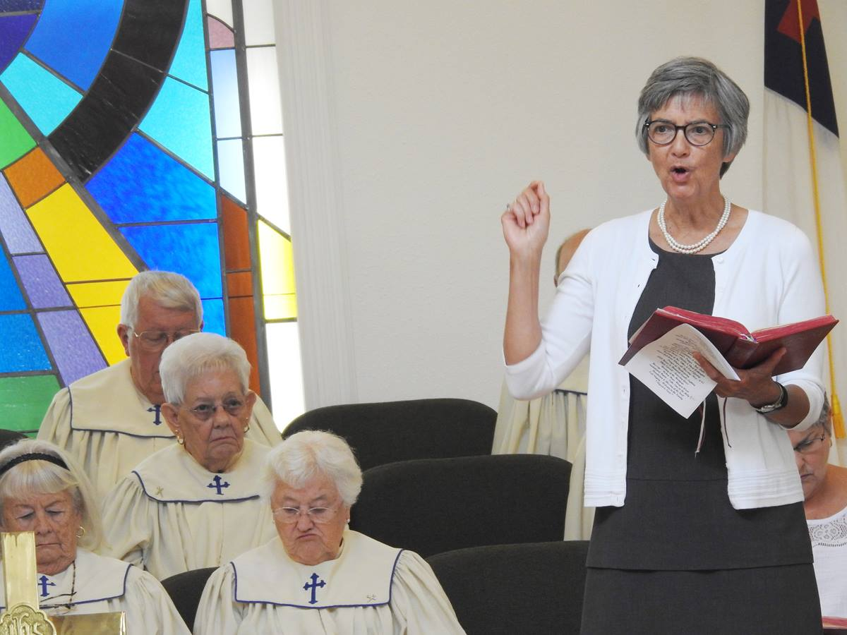 Bishop Hope Morgan Ward preaches at Clarks United Methodist Church, on the outskirts of New Bern, North Carolina. The church celebrated homecoming and burned a paid-off mortgage during the September 23 service, which Ward led with the Rev. Michael Register, pastor. Members shared stories of flood damage from Hurricane Florence. Photo by Sam Hodges, UMNS