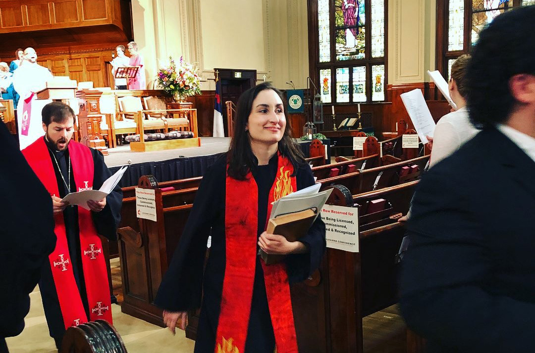 The Rev. Allison Sauls Sikes, seen at her ordination service, serves as associate pastor at Asbury United Methodist Church in Lafayette, La. She's one of just 350 young women elders in The United Methodist Church. Photo courtesy of the Rev. Allison Sikes.