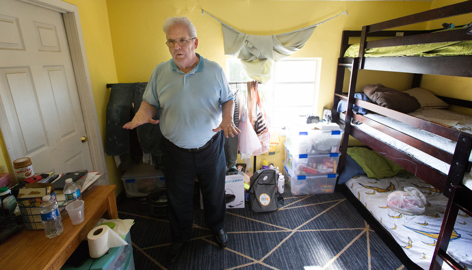 """The Rev. Bill Jenkins says some 6,000 immigrants have been hosted by Christ United Methodist Ministry Center in San Diego. Jenkins says the most pressing need for an immigrant is a bed. """"If you don't have a bed you are in a world of hurt,"""" he said. Photo by Mike DuBose, UMNS."""
