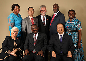 Members of the 2016-2020 Judicial Council. (From left) Front row: Deanell Reece Tacha, N. Oswald Tweh Sr., the Rev. Luan-Vu Tran. Back row: Lydia Romão Gulele, Ruben T. Reyes, the Rev. Øyvind Helliesen, the Rev. Dennis Blackwell, and the Rev. J. Kabamba Kiboko. (Not pictured, Beth Capen)  Photo by Kathleen Barry, United Methodist Communications.