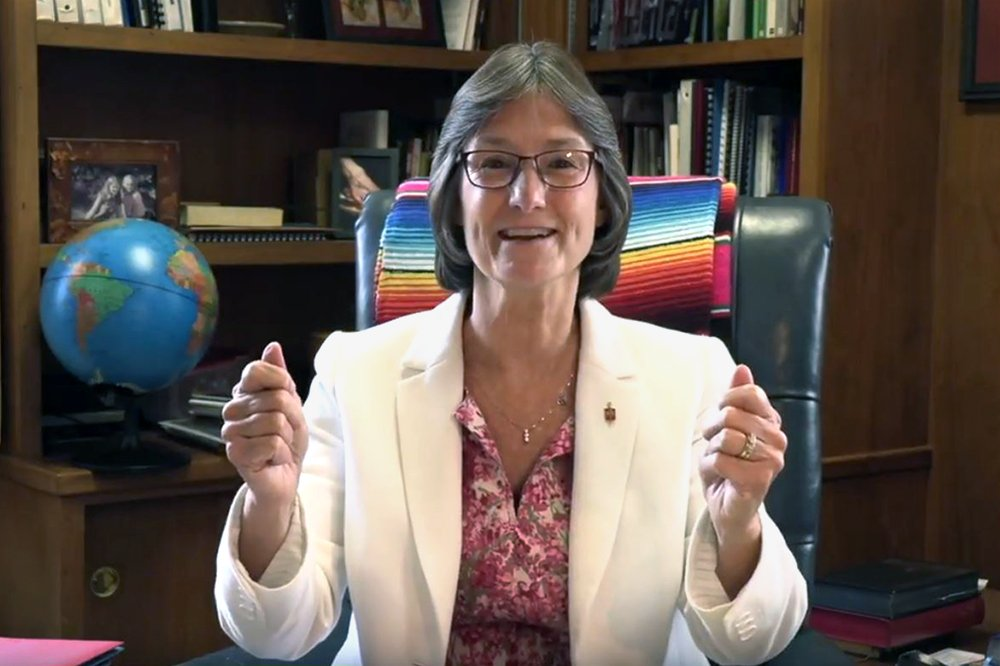 """Video image of Bishop Sandra Steiner Ball, courtesy of the West Virginia Conference. """"Seeing a Way Forward"""" is a video series by United Methodist News Service featuring different perspectives of church leaders on the work of the Commission on a Way Forward."""