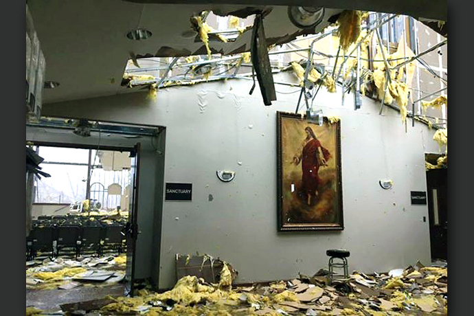 Lynn Haven United Methodist Church in Panama City, Fla., lost the roof over its sanctuary and its back wall in the winds of Hurricane Michael. Photo courtesy of Lynn Haven United Methodist Church.