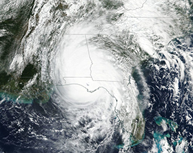 A NASA-National Oceanic and Atmospheric Administration satellite image shows a visible image of Hurricane Michael after it made landfall in the Florida panhandle on Oct. 10. Image courtesy of NASA Worldview, Earth Observing System Data and Information System (EOSDIS)/ NOAA.