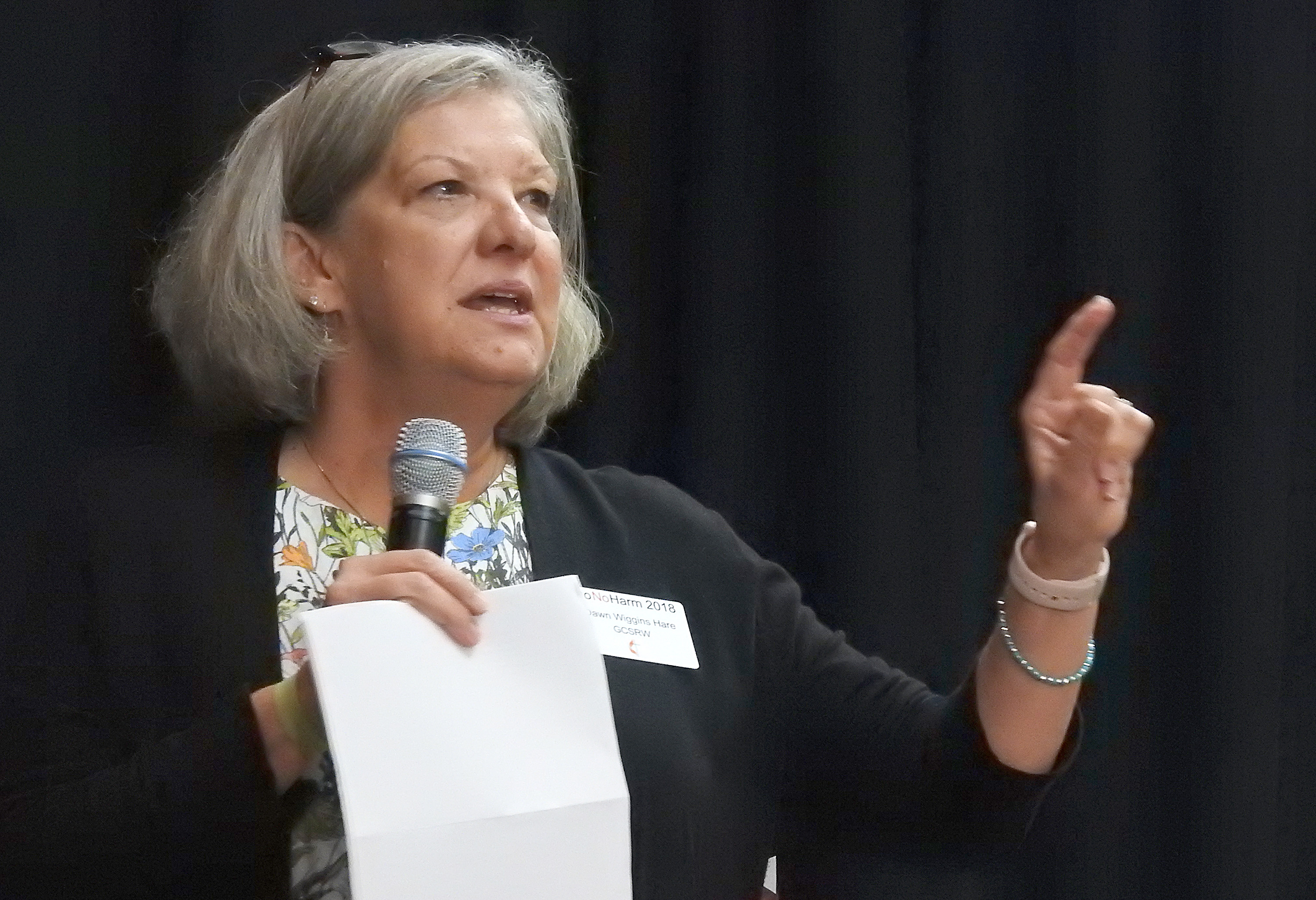 Dawn Wiggins Hare, top executive of the General Commission on the Status and Role of Women, speaks at the 2018 Do No Harm conference of The United Methodist Church. The sexual ethics summit drew clergy and laity from across the denomination, including the Central Conferences. Photo by Sam Hodges, UMNS.