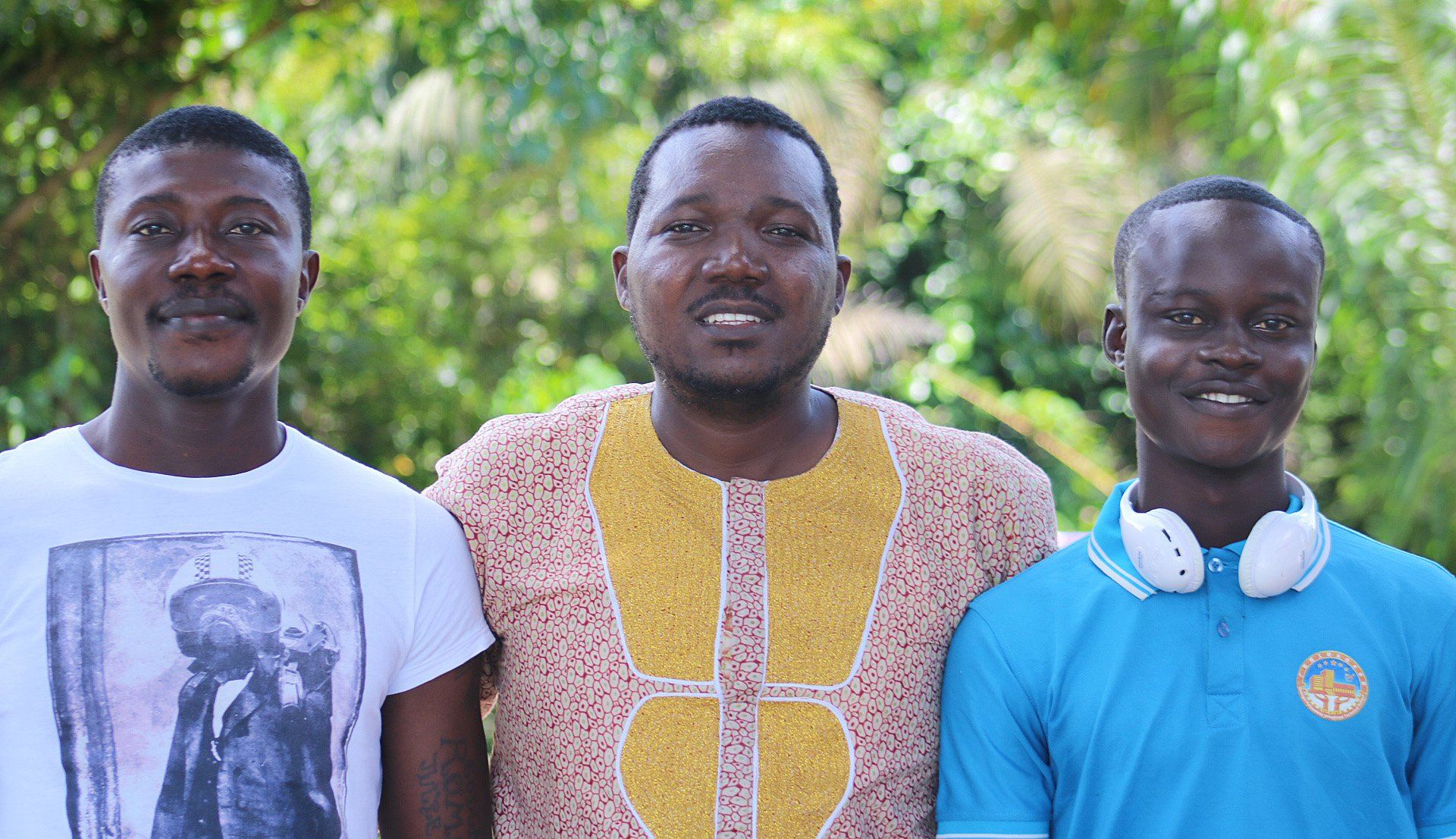 "Jefferson Knight (center), director of the human rights agency of The United Methodist Church in Liberia, stands with residents of the New Life Recovery Center, Romeo ""Jean Papi"" Sonpon (left) and Life Buan. Photo by E Julu Swen, UMNS."