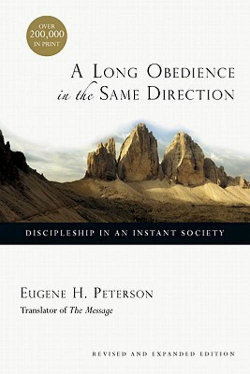 """""""A Long Obedience in the Same Direction: Discipleship in an Instant Society"""" artwork courtesy of Cokesbury.com."""