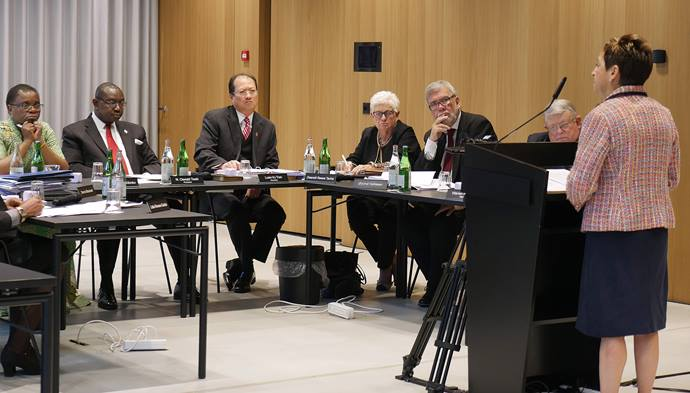 Bishop Cynthia Fierro Harvey addresses the United Methodist Judicial Council meeting in Zurich. The council ruled Oct. 26 that the One Church Plan is largely constitutional but found problems with the Traditional Plan. Photo by Diane Degnan, UMCom.