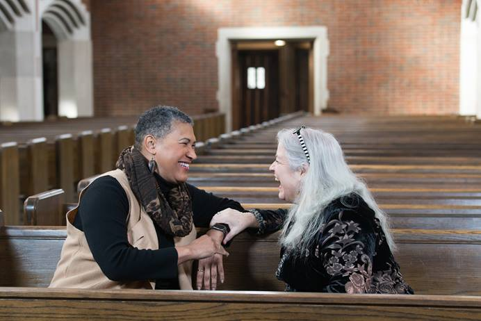The Rev. Joy J. Moore (left) and Bonnie Wheeler talk about values, laws, marriage and the Bible as part of a new video series from the United Methodist Commission on Religion and Race. Photo by Mike DuBose, UMNS.