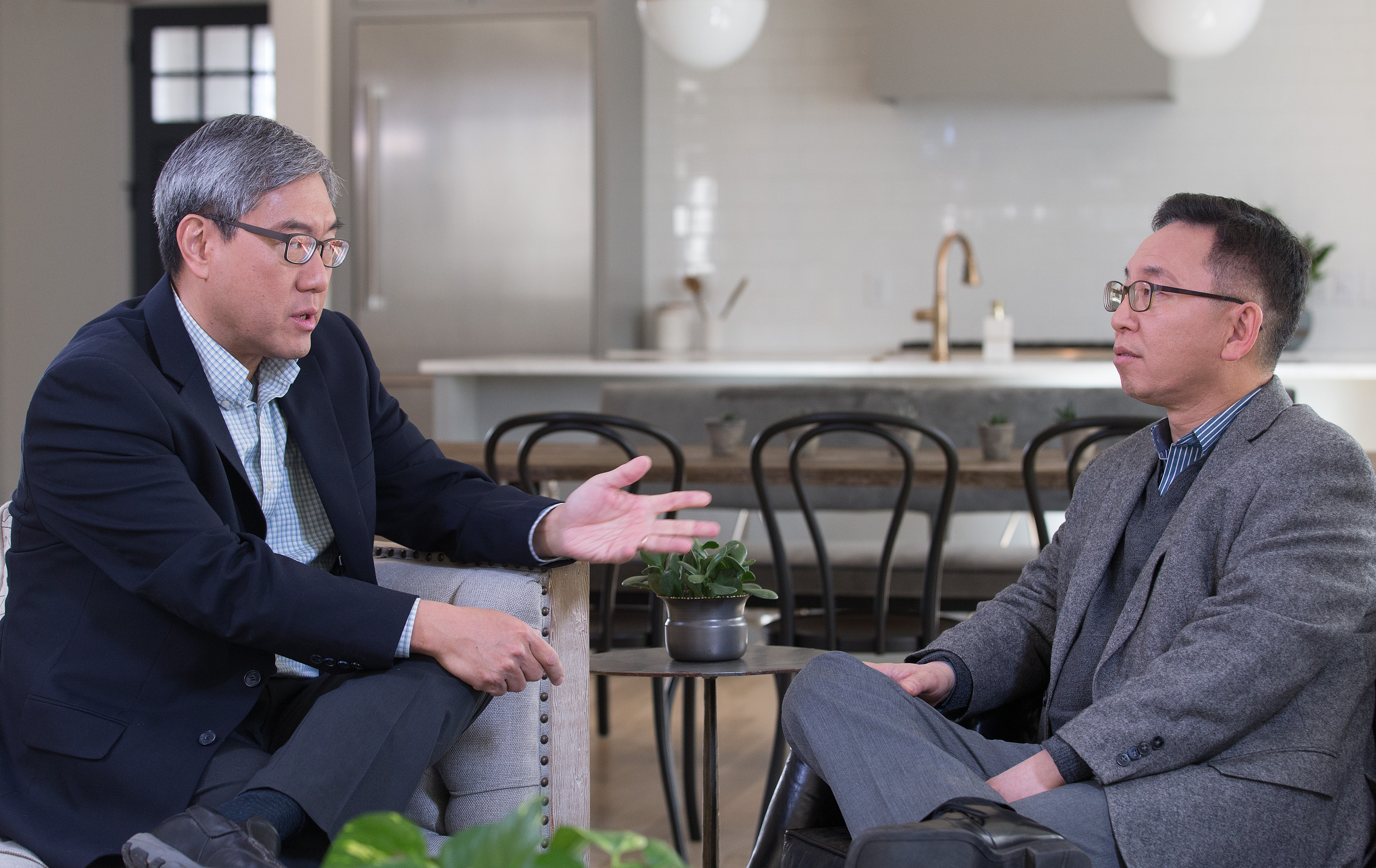 The Revs. Kevin Park (left) and Kil Jae Park share a conversation on offering pastoral care when congregants have differing views, part of the newest GCORR Vital Conversations series. Photo by Mike DuBose, UMNS.