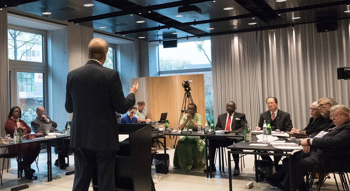 Bishop Kenneth H. Carter Jr. addresses the United Methodist Judicial Council meeting in Zurich on Oct. 23. Carter is president of the denomination's Council of Bishops. Photo by Diane Degnan, UMCom.