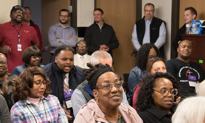 Participants at the 2018 National Prison Summit listen to staff of Men of Valor explain their mission to win men in prison to Jesus Christ and help them reenter society as men of integrity. The facility is located in Nashville, Tenn. Photo by Kathy L. Gilbert, UMNS.