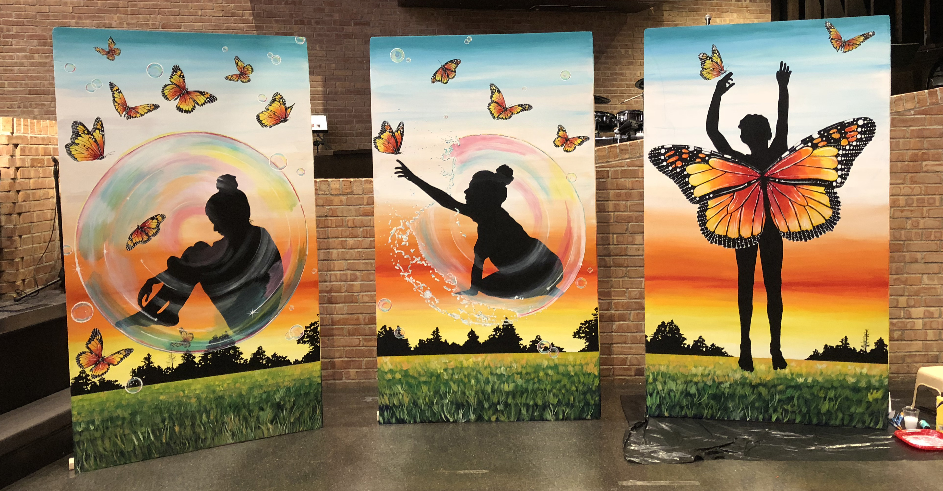 View of the completed triptych by the Rev. Kristine Marshall showing the metamorphosis to butterfly. Photo by Crystal Caviness, United Methodist Communications.