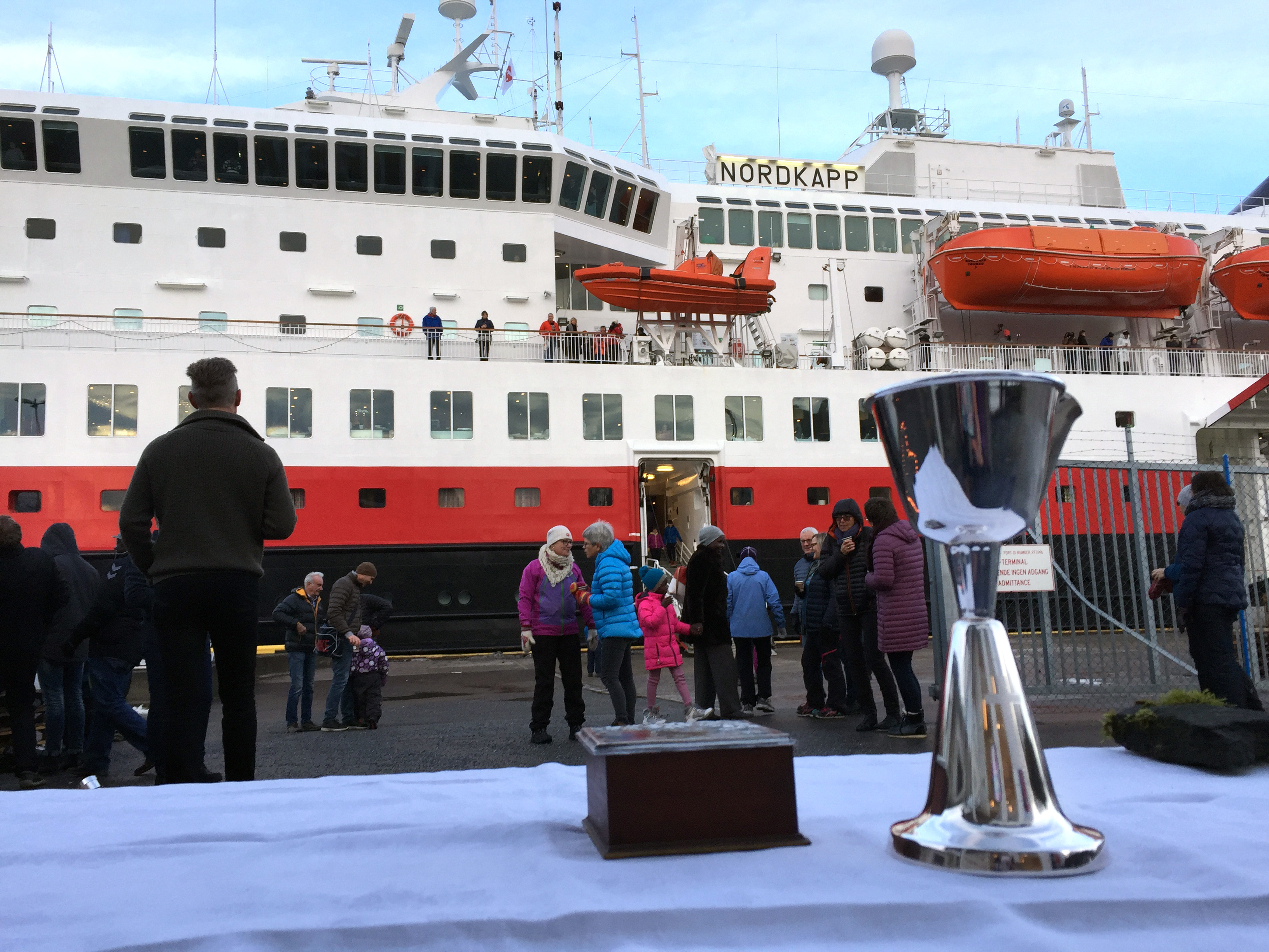 Communion is prepared to be shared with church members and ferry passengers. Photo by Lise Løvland.