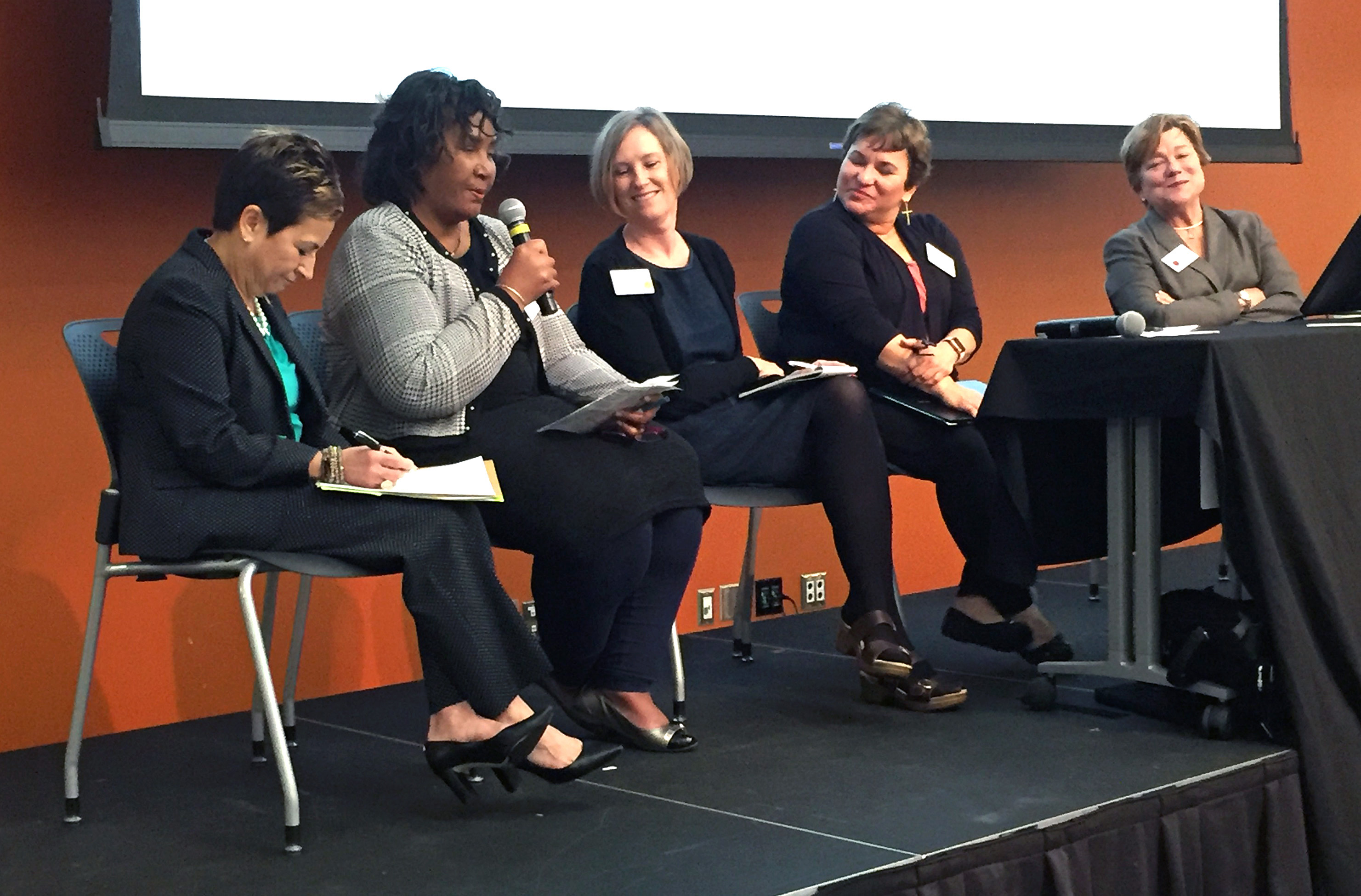 Panelists at the Nov. 2 Connectional Table meeting speak about the impact a divided church would have on fulfilling the church's mission. Pictured from left are Bishop Cynthia Fierro Harvey, Benedita Penicela Nhambiu, the Revs. Beverly Jones, Lyssette N. Perez and Kim Cape. Photo by Heather Hahn, UMNS.