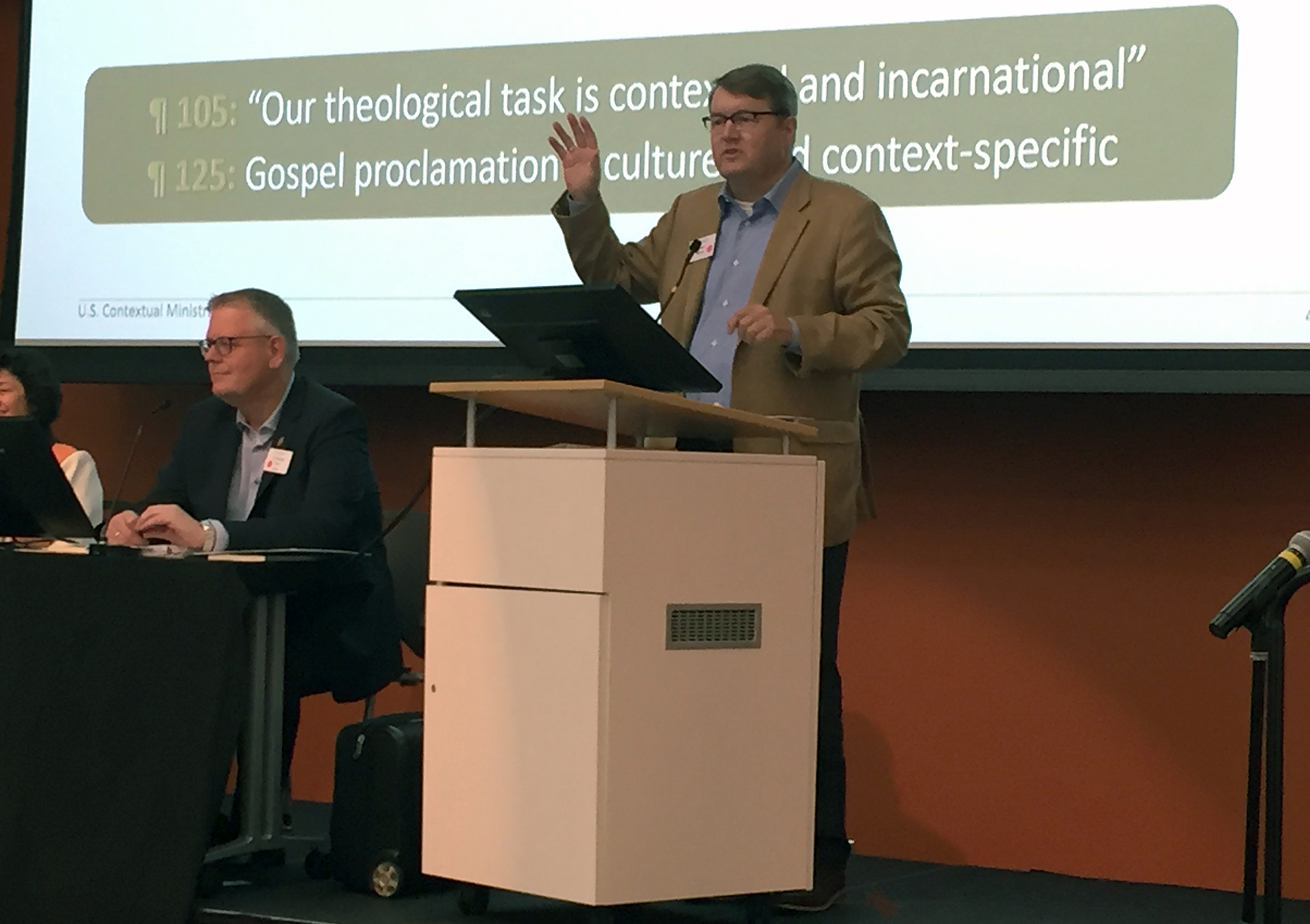 The Rev. Brian Milford speaks at the Oct. 31-Nov. 2 meeting of the Connectional Table in Atlanta. Photo by Heather Hahn, UMNS.