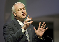 Bishop Thomas Bickerton speaks during the 2008 United Methodist General Conference in Fort Worth, Texas. Photo by Mike DuBose, UMNS.