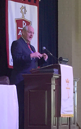 Bishop B. Michael Watson, ecumenical officer for the Council of Bishops, speaks of the importance of work toward Christian unity. Photo by Heather Hahn, UMNS.