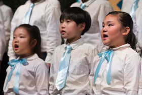 The children's choir from the Korean Church of Atlanta United Methodist Church rehearses at Grace United Methodist Church in Atlanta during the Roundtable for Peace on the Korean Peninsula. Photo by Mike DuBose, UMNS.