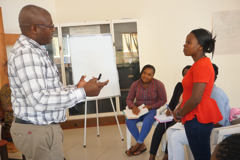 Zimbabwe West Conference auditor Douglas Mudzingwa teaches students about financial management during skills training in Harare, Zimbabwe, provided by The United Methodist Church and the nonprofit Global Fund. Photo by Kudzai Chingwe, UMNS.