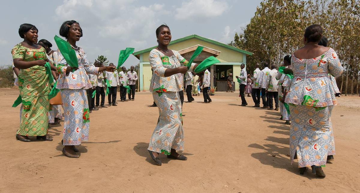 Members of the choir welcome visitors to the newly constructed United Methodist church in Gouabo, Côte d'Ivoire.