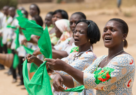 Members of the choir welcome visitors to the United Methodist church in Gouabo, Côte d'Ivoire. Photo by Mike DuBose, UMNS.
