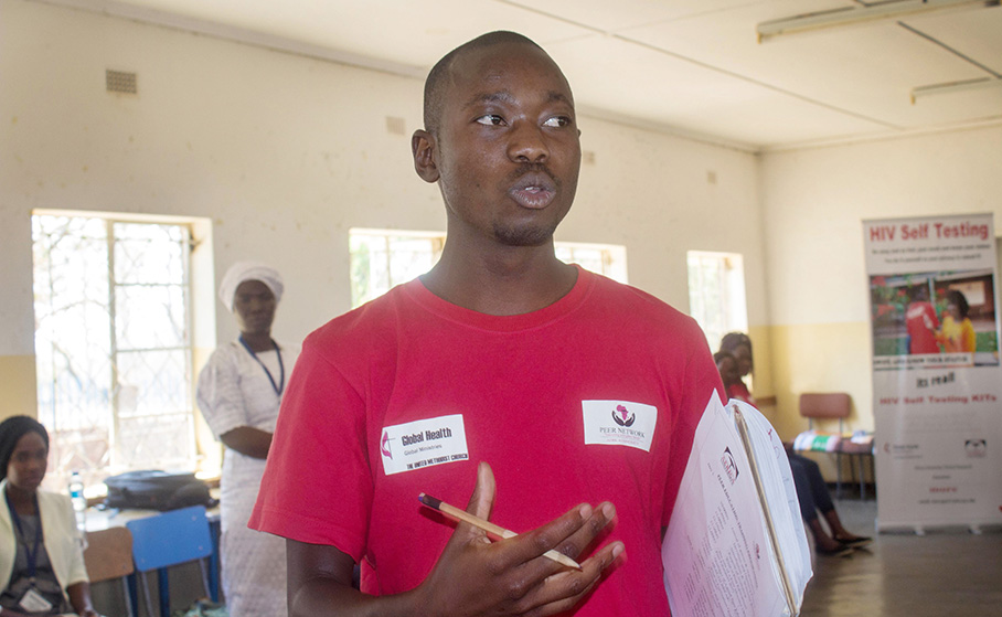 Farai Danny Mhlanga is one of the peer educators from Africa University involved in the school's HIV Self Testing project. Photo courtesy of Africa University.